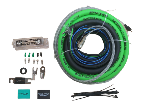 Full Tilt 1/0 Gauge AWG Green/Black Amplifier/Amp Wire Kit