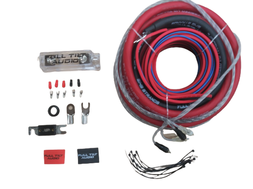 Full Tilt 1/0 Gauge AWG Red/Black Amplifier/Amp Wire Kit