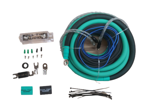 Full Tilt 1/0 Gauge AWG Teal/Black Amplifier/Amp Wire Kit