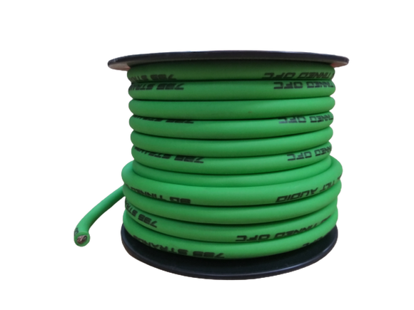 FULL TILT 8 GAUGE LIME GREEN 50' TINNED OFC OXYGEN FREE COPPER POWER/GROUND CABLE/WIRE