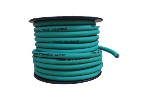 FULL TILT 8 GAUGE TEAL 50' TINNED OFC OXYGEN FREE COPPER POWER/GROUND CABLE/WIRE