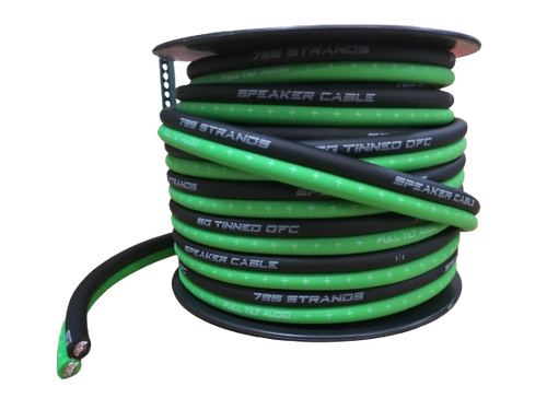 FULL TILT 8 GAUGE LIME GREEN/BLACK 50' TINNED OFC OXYGEN FREE COPPER SPEAKER WIRE