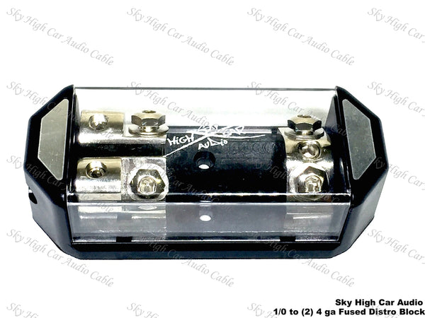 Sky High Car Audio (1) 1/0 to (2) 4GA ANL Fused Distribution Block Dual ANL Fuse Holder