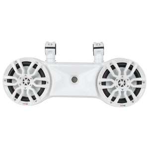 "DS18 WHITE HYDRO 8"" DOUBLE WAKEBOARD POD TOWER SPEAKER WITH 1.35"" DRIVER AND INTEGRATED RGB LED LIGHTS 900 WATTS"