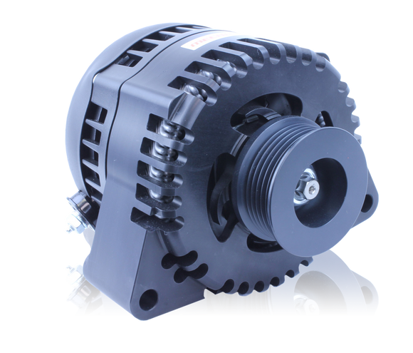 S Series Billet 170 AMP Racing Alternator For C5/C6 Corvette - One Wire, Self Exciting - Black Anodized