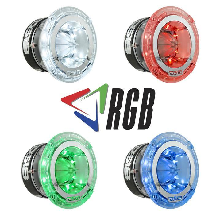 "DS18 CAR AUDIO PRO 1.75"" RGB LED POLY-CARBONATE SUPER BULLET TWEETER 600 WATTS ( SINGLE )"