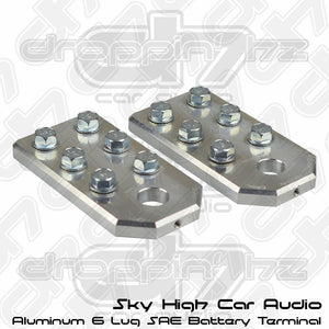 Sky High Car Audio 6 Lug Flat SAE Aluminum Battery Terminals