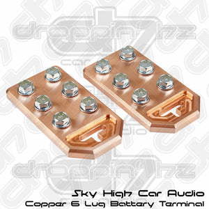 Sky High Car Audio 6 Lug Flat Copper Battery Terminals