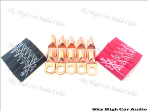 Sky High Car Audio 4ga Copper Lug Pack of 10 W/Heat Shrink