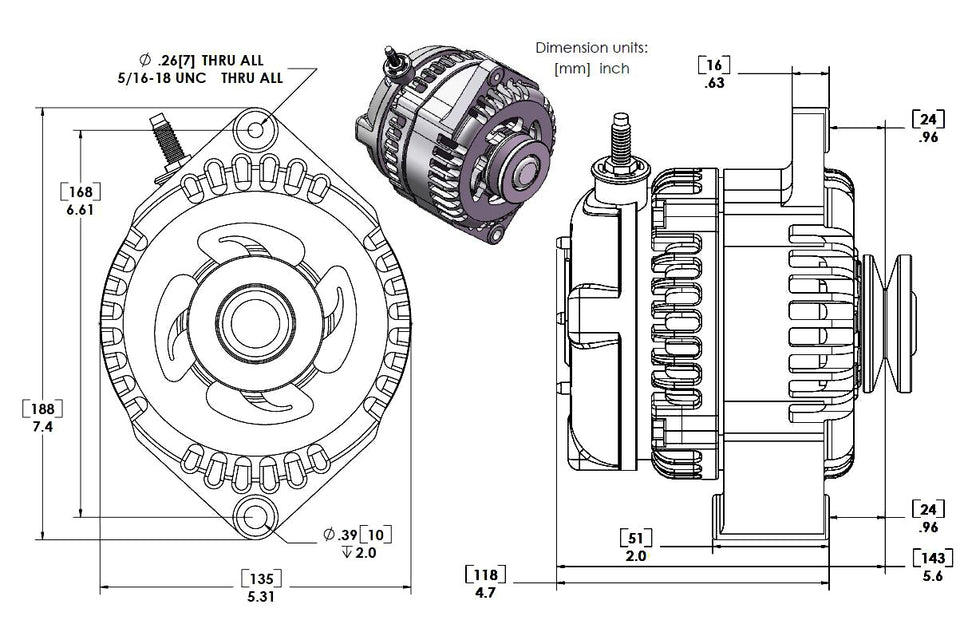 S Series 6 Phase High Output 240 Amp Alternator with 6.61