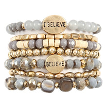 Load image into Gallery viewer, Believe Stacked Bracelet | Grey