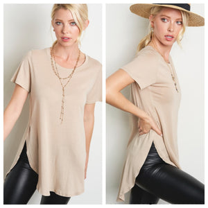 Beige Split Side Tee