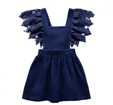 Load image into Gallery viewer, Navy Flutter Sleeve Tie Back Dress