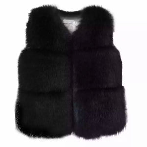 Keep Me Warm Faux Fur Vest | Black