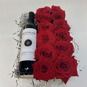 BERINGER WINE & RED ROSES BASKET