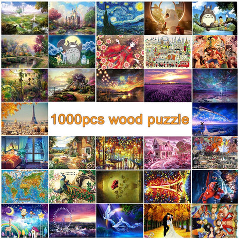 1000pcs wooden puzzles for adult DIY wood jigsaw puzzle educational 3D puzzle toys for child kid gift - Products To Build a Better Brain