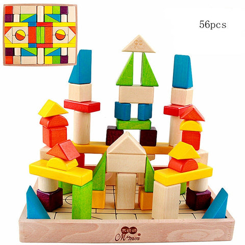56pcs Kids Classic wooden colorful shape - Products To Build a Better Brain