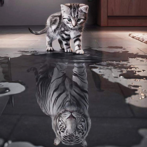 5D Cat's Whisper DIY Painting Craft Embroidery Animal Diamond Wall Painting Home Decoration Cat Tiger Mosaic Painting - Products To Build a Better Brain