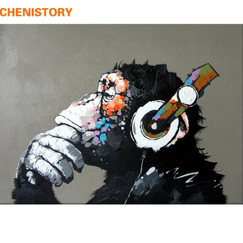 CHENISTORY Abstract Monkey DIY Painting By Numbers Home Wall Art Picture Paint By Numbers Calligraphy Painting 40x50cm Artwork - Products To Build a Better Brain