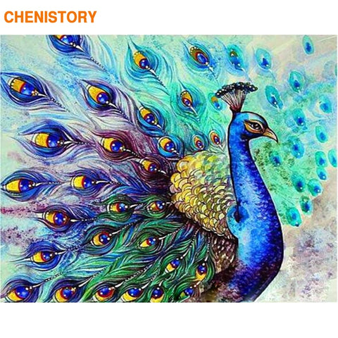 CHENISTORY Frameless Peacock Animals DIY Painting By Numbers Kits Acrylic Paint By Numbers Home Wall Art Decor Unique Gift 40x50 - Products To Build a Better Brain