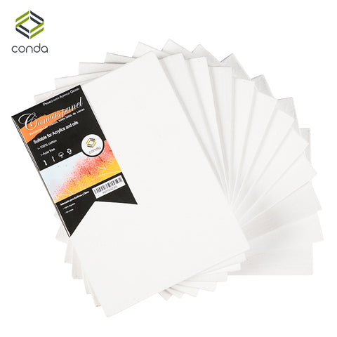 CONDA 12.7x17.7cm (5x7inch) Canvas Panels Pack of 12 Artist Quality Acid Free Canvas Board Oil Painting Board ArtSchool Supplies - Products To Build a Better Brain
