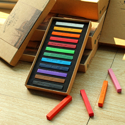 Color chalk 12/24/36/48 soft powder color powder bar painting set beginner blackboard newspaper crayon art supplies - Products To Build a Better Brain