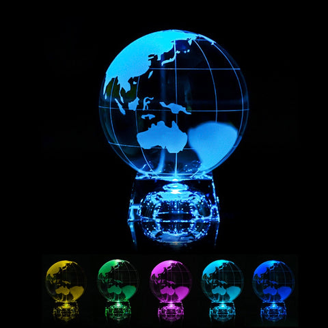 Coloruful Crystal Earth Miniature Model Laser Engraved Crystal Ball Glass Globe With Led Stand Ornament Home Decor - Products To Build a Better Brain