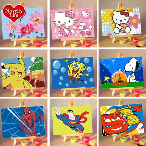 DIY Small Picture Painting By Numbers Easel Spongebob Children Home Decor Canvas Oil Painit Kids Bed Room Living Wall Boys Gifts - Products To Build a Better Brain