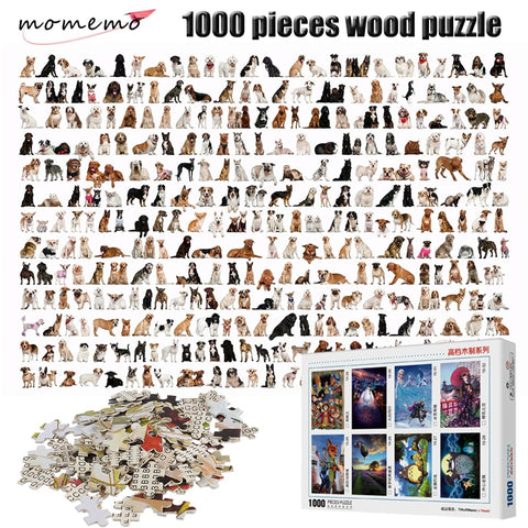 MOMEMO Kinds of Dogs Puzzle 1000 Pieces Animal Figure Adult Puzzle 2mm Thick Wooden Puzzle for Children Educational Toys Gifts - Products To Build a Better Brain