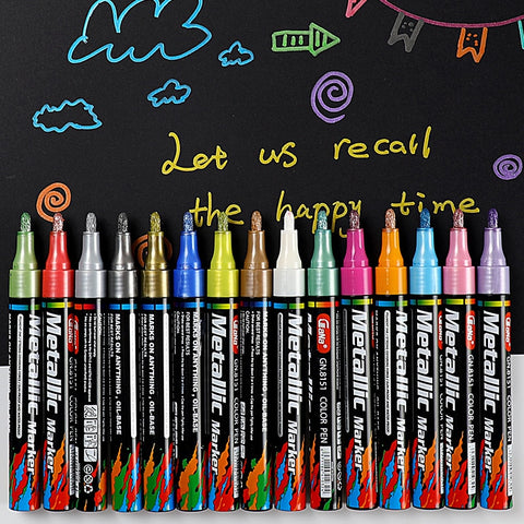 Metallic Paint Markers Works on Most Surfaces Highlight Pen Birthday Card Silver Gold White Paint Art Marker School Supplies - Products To Build a Better Brain