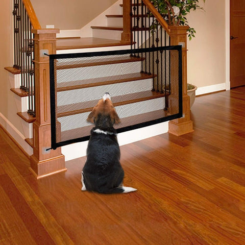 Pet Soft Magic Gate for Dogs Pet Fences Portable Folding Safe Guard Indoor and Outdoor Portable Folding Mesh Pet Gate For Cat - Products To Build a Better Brain