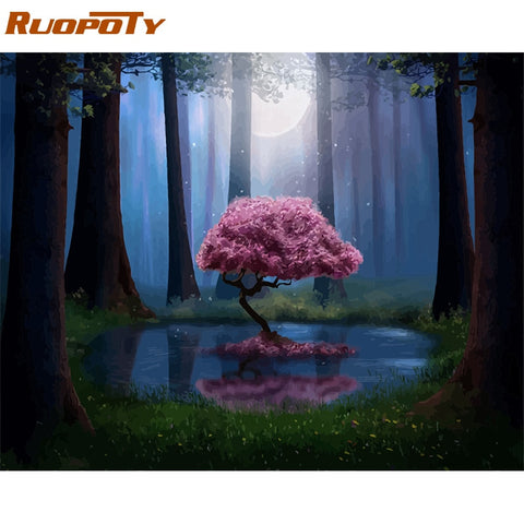 RUOPOTY Frame DIY Painting By Numbers Landscape Forest Pink Tree Acrylic Paint By Numbers For Adult Wall Art Pictur Home Decors - Products To Build a Better Brain