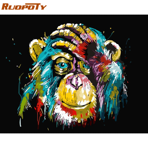 RUOPOTY Frame Orangutan Animals DIY Oil Painting By Number Calligraphy Painting Acrylic Paint On Canvas For Home Decor 40x50cm - Products To Build a Better Brain