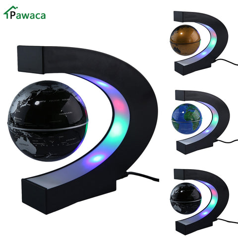 US/EU/UK Plug Home Office Decoration LED Floating Tellurion Globe C Shape Magnetic Levitation Light World Map With LED Tellurion - Products To Build a Better Brain