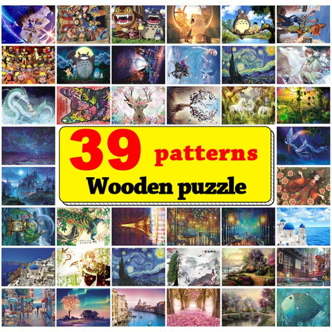 39 Puzzle Patterns: 1000 Pieces Wooden Jigsaw Picture Puzzle Educational Toys - Products To Build a Better Brain