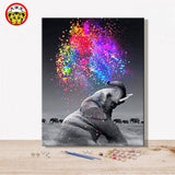 paint by number art painting by numbers Elephant Realism Handmade Amusing Living room decorative hanging pictures  Animal - Products To Build a Better Brain