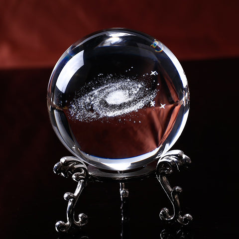 6CM Diameter Globe Galaxy Miniatures Crystal Ball 3D Laser Engraved Quartz Glass Ball - Products To Build a Better Brain