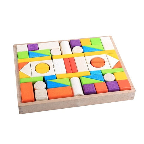 Colorful Wooden Baby Montessori Building Blocks - Products To Build a Better Brain
