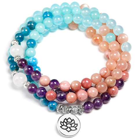 Apatite With Rhodochrosite Natural Stone Meditation Mala 108 Bead - Products To Build a Better Brain