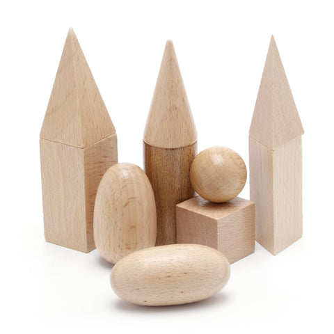 Wooden Geometric Solids 3-D Shapes Montessori - Products To Build a Better Brain
