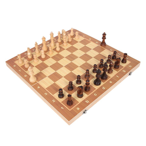 39cm X 39cm Wooden International Chess Set & Foldable Board - Products To Build a Better Brain