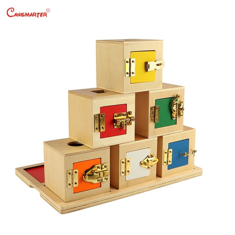 6 Lock Box Exercises Wooden Toys Metal Locks Montessori - Products To Build a Better Brain