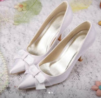 Pre-loved White Satin Heels with bow 39
