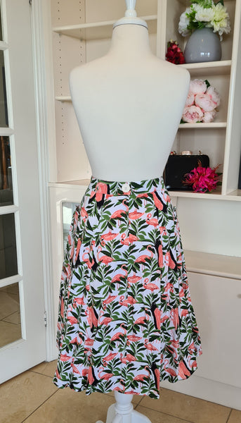 Pre-loved Revival A-line Flamingo Skirt Size 14