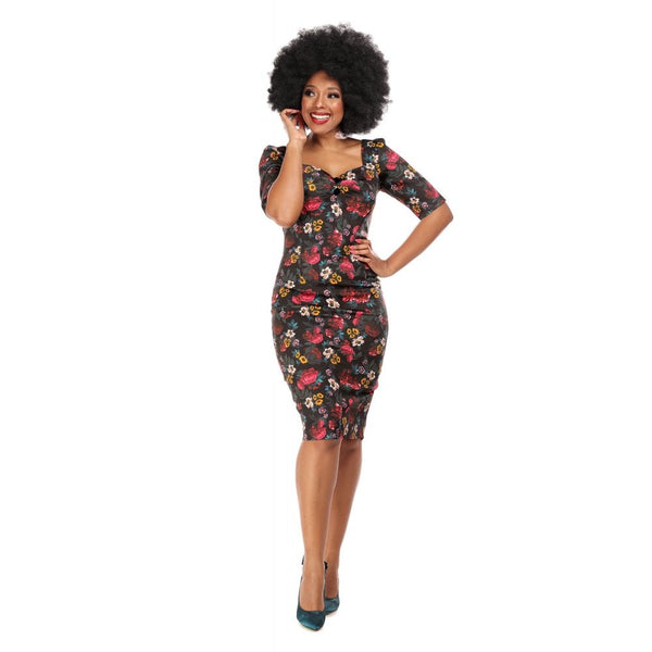 Collectif Dolores Half Sleeve Midnight Floral Pencil Dress