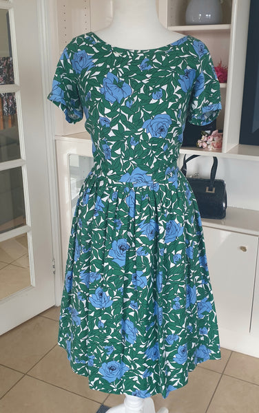 True Vintage 1950's Green and Blue Floral Dress