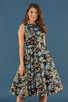 Lady Vintage Hepburn Dress Teal Floral