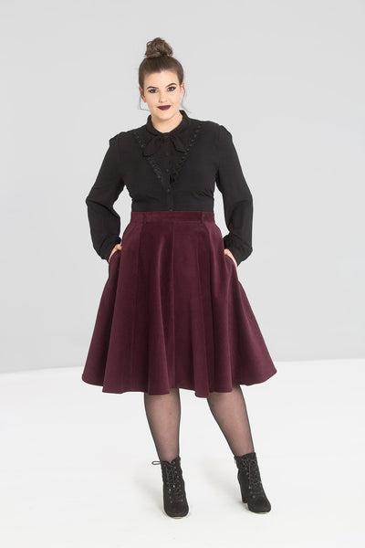 Hell Bunny Jefferson Skirt Wine