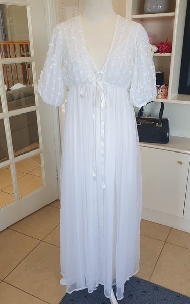 True Vintage 1950's White Peignoir Nightgown Set