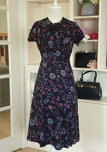 True Vintage 1950's Navy and Purple Floral Dress